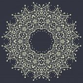 Mandala in outlines over gray background. Vintage decorative element for flyer card. Hand drawn trib