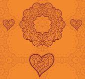 Valentine card design. Ornamental orange vector flyer. Love card. Heart shaped vintage decorative el