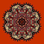 Ornamental colorful vector mandala on red. Art vintage decorative elements. Hand drawn tribal style