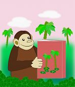 image of palm-reading  - A funny monkey reading a book in the jungle - JPG