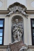VIENNA, AUSTRIA - OCTOBER 10: Statue of Saint Peter, facade of the presbitory of the Saint Peter Church in Vienna, Austria on October 10, 2014.