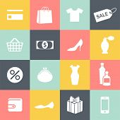 set of monochrome shopping icons