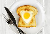 Heart shaped Valentines Day egg in toast