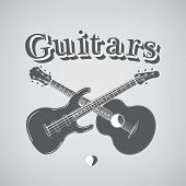 Music Instruments. Acoustic and Bass Guitars