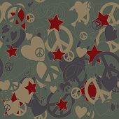 stock photo of camouflage  - Surreal Military Camouflage Background with Love and Peace sign and Stars - JPG