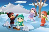 Kids Playing Snowballs