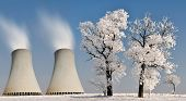 Winter landscape with nuclear power plant.