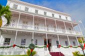 Government house on St Thomas Island during Christmas season.