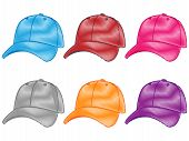 Set Of Baseball Caps In Different Colours Pencil Style 2
