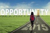 College Student Walking Toward Opportunity Door