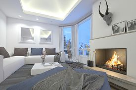 stock photo of trophy  - 3D Rendering of Upmarket living room interior with a blazing fire - JPG