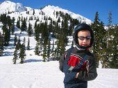 Boy Spring Skiing