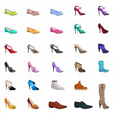 stock photo of shoe  - Women s fashion collection of shoes - JPG