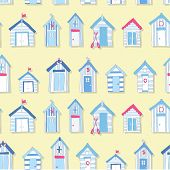 stock photo of beach hut  - Hand Drawn Beach Huts in a Seamless Pattern - JPG