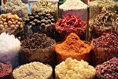stock photo of spice  - dried herbs flowers spices in the spice souq at Deira - JPG