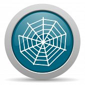 stock photo of spider web  - spider web blue glossy web icon  - JPG