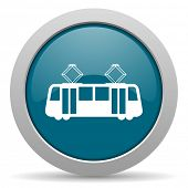 picture of tram  - tram blue glossy web icon  - JPG