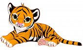 stock photo of tigress  - Illustration of cute baby tiger lies - JPG