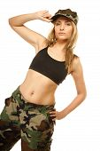 stock photo of army  - Beautiful sexy woman in military clothes fit army girl isolated on white - JPG
