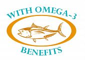stock photo of oblong  - Bluefin Tuna Fish line artwork with sample text Omega - JPG
