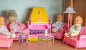 picture of doll  - small pink doll living room with kewpie dolls - JPG