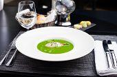 foto of scallops  - Broccoli cream soup with white fish and scallops - JPG