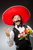 foto of sombrero  - Mexican man wears sombrero isolated on white - JPG
