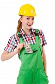 image of overalls  - Female handyman in overalls isolated on white - JPG
