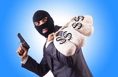 stock photo of gangster  - Gangster with bags of money on white - JPG