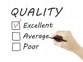 image of performance evaluation  - choosing excellent on customer service evaluation form over white background - JPG