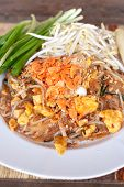 foto of rice noodles  - Pad thai or phat thai is a stir fried rice noodle dish - JPG