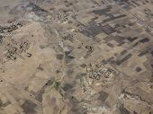pic of ethiopia  - Aerial view of dry farmland and villages in Ethiopia - JPG