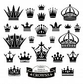 stock photo of crown  - Set of various crowns isolated on white vector illustration - JPG