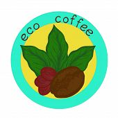 stock photo of coffee coffee plant  - logo with the image of germinated beans coffee leaves and coffee berry - JPG