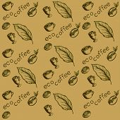 pic of hot coffee  - pattern eco coffee coffee beans germinated coffee berry coffee leaves cups coffee eco label - JPG