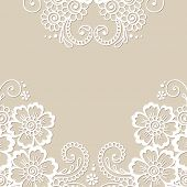 image of lace  - White flower frame - JPG