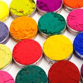 pic of holi  - Colorful Indian Holi festival dyes on white background - JPG