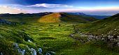 Mountain landscape panorama, sunset in mountain