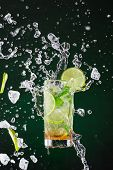 pic of freeze  - fresh mojito drink with liquid splash and drift - JPG