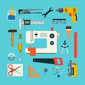picture of hammer drill  - Handmade concept with icons of sewing - JPG