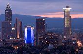 Frankfurt Messe bei Sonnenuntergang
