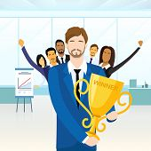 stock photo of leader  - Business Man Get Prize Winner Cup - JPG