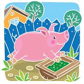 picture of porpoise  - Children vector illustration ofof little funny little pig or piglet running around the yard - JPG
