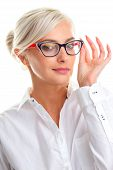 foto of shot glasses  - beautiful young woman in white glasses - JPG