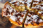 foto of sponge-cake  - Authentic sponge cake with raisins cinnamon and apples - JPG