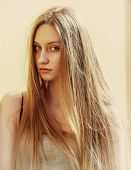 picture of flowing hair  - portrait of a girl with her hair on the street - JPG