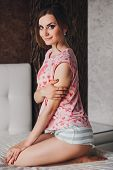 stock photo of pajamas  - girl with long hair in beautiful  pajamas - JPG