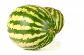 stock photo of melon  - Three water melons on white background - JPG