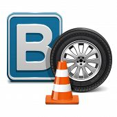 stock photo of driving school  - Driving school concept of  vehicle category B with wheel - JPG