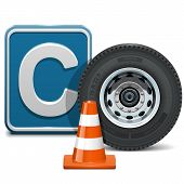 picture of driving school  - Driving school concept of  vehicle category C with wheel - JPG
